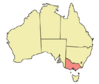 Map showing location of Victoria in Australia