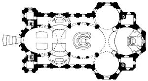 Basilica of the Fourteen Holy Helpers - Diagram showing the geometry of the floor plan: ovals and circles meet rectangles.