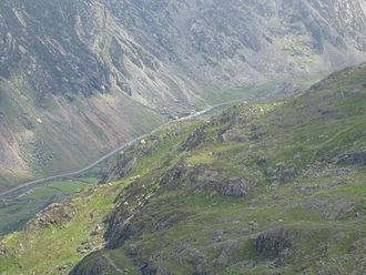Snowdon Mountain Railway - Llanberis Pass viewed from near Clogwyn station