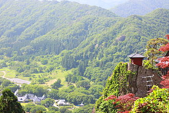 Yama-dera - View from the top (sutra repository in sight).