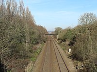 View north from Station Road railway bridge, Storeton.jpg