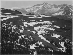 "View of plateau, snow covered mountain in background, ""Long's Peak, Rocky Mountain National Park,"" Colorado., 1933 - 194 - NARA - 519970.tif"