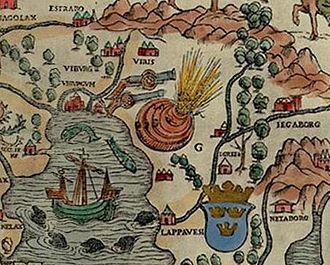 Russo-Swedish War (1495–1497) - Olaus Magnus included the Viborg blast in his 1536 Carta marina.