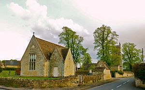 Warkton - Image: Village Hall and St Edmund's Parish Church Warkton