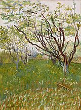A field on an early spring day with several lightly blooming trees in the left and in the distance contrasted against a pale sky. To the right middle ground is a large single tree with several growing branches in early bloom. A rake leans against the tree-trunk.