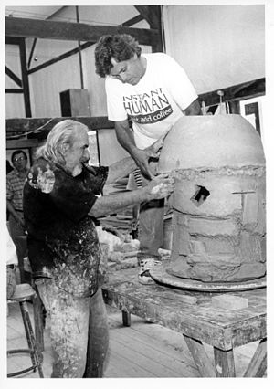 Peter Voulkos - Peter Voulkos and Peter Callas working on a 1998 Stack in Belvidere, NJ.