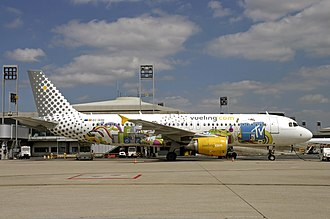 Vueling - MTV Livery Airbus A320-214 at Paris-Charles de Gaulle, France (2008)