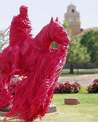Texas Tech University traditions - The wrapping of the statue of Will Rogers and Soapsuds, by the Saddle Tramps, is a prominent tradition at Texas Tech.