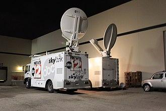 WJRT-TV - WJRT News Skylink trucks.