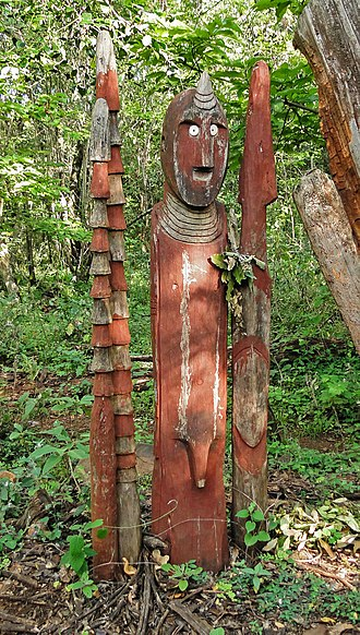 Konso people - A waga (grave marker) near the town of Konso
