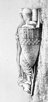 Black and white illustration of a mediaeval stone effigy