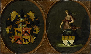 Heraldic panel with family shields of the couple Hortensia del Prado and second husband Peter Courten, 1625