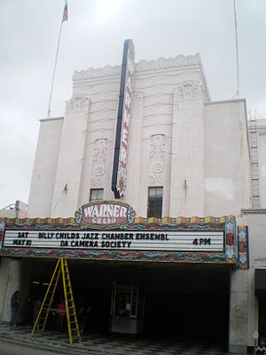 Warner Grand Theatre - Adjusting the sign on the Warner Grand marquis