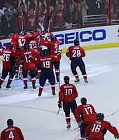 1053ee82e The Capitals celebrate after defeating the New York Rangers in the 2009  Stanley Cup playoffs.