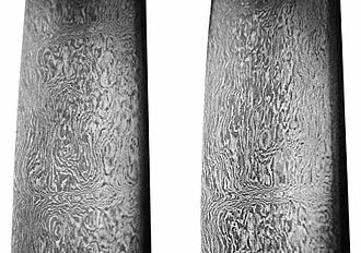 Damascus steel - Close-up of an 18th-century Persian-forged Damascus steel sword