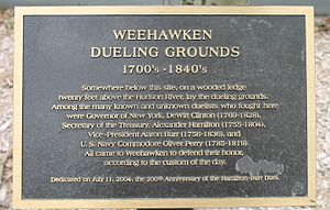 Philip Hamilton - This plaque marks the location, in Weehawken, New Jersey, where Philip Hamilton, and his father, Alexander, engaged in their respective duels.