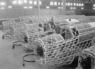Vickers Wellington - Wellingtons under construction, showing the geodesic airframe