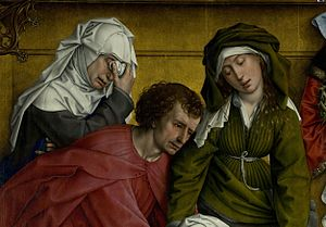 The Descent from the Cross (van der Weyden) - Detail: Mary of Clopas, Saint John the Evangelist and Mary Salome (according to Campbell)