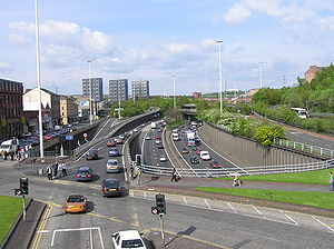 Transport in Scotland - The M8 at Charing Cross (Junction 18), Glasgow