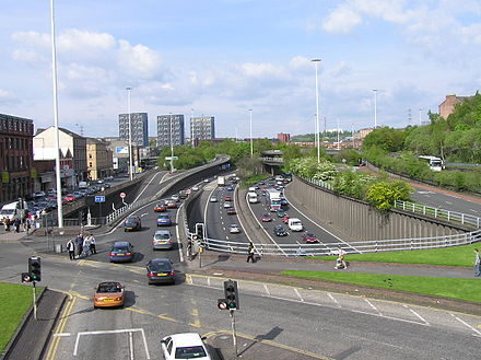 The M8, which crosses the Clyde over the Kingston Bridge, is Scotland's busiest motorway. Wfm m8 motorway.jpg