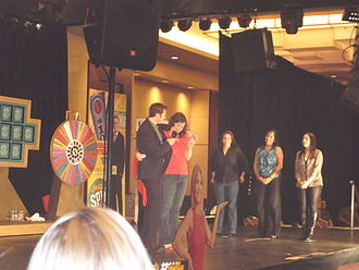 Marty Lublin interviews a potential contestant during an audition at Morongo Casino, Resort & Spa, Cabazon, California. Wheel of Fortune, Morongo.jpg
