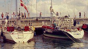 L'Esprit d'équipe - SAS Baia Viking  and L'Esprit d'équipe (right) during the 1985–86 Whitbread Round the World Race.