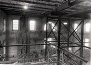 View of the interior shell of the White House during reconstruction in 1950.
