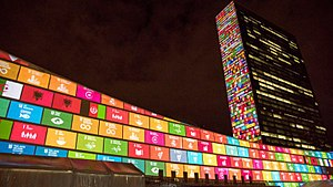 United Nations Department of Economic and Social Affairs - SDG's on UN building