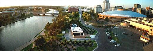 Downtown Wichita & Century II Convention Center along the Arkansas River. - Wichita, Kansas