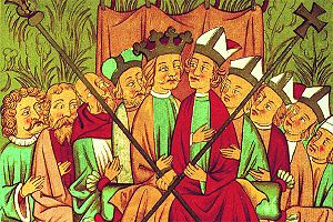 Sejm - A wiec (King's Council) in the time of King Casimir III of Poland, 14th century