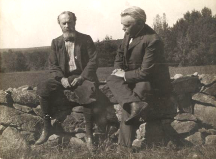 "William James and Josiah Royce, near James's country home in Chocorua, New Hampshire in September 1903. James's daughter Peggy took the picture. On hearing the camera click, James cried out: ""Royce, you're being photographed! Look out! I say Damn the Absolute!"""