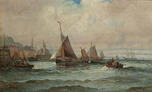 William Anslow Thornley - Fishing boats making for harbour, Scarborough.jpg