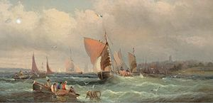William Anslow Thornley - Fishing boats off a harbour, and another similar (I).jpg