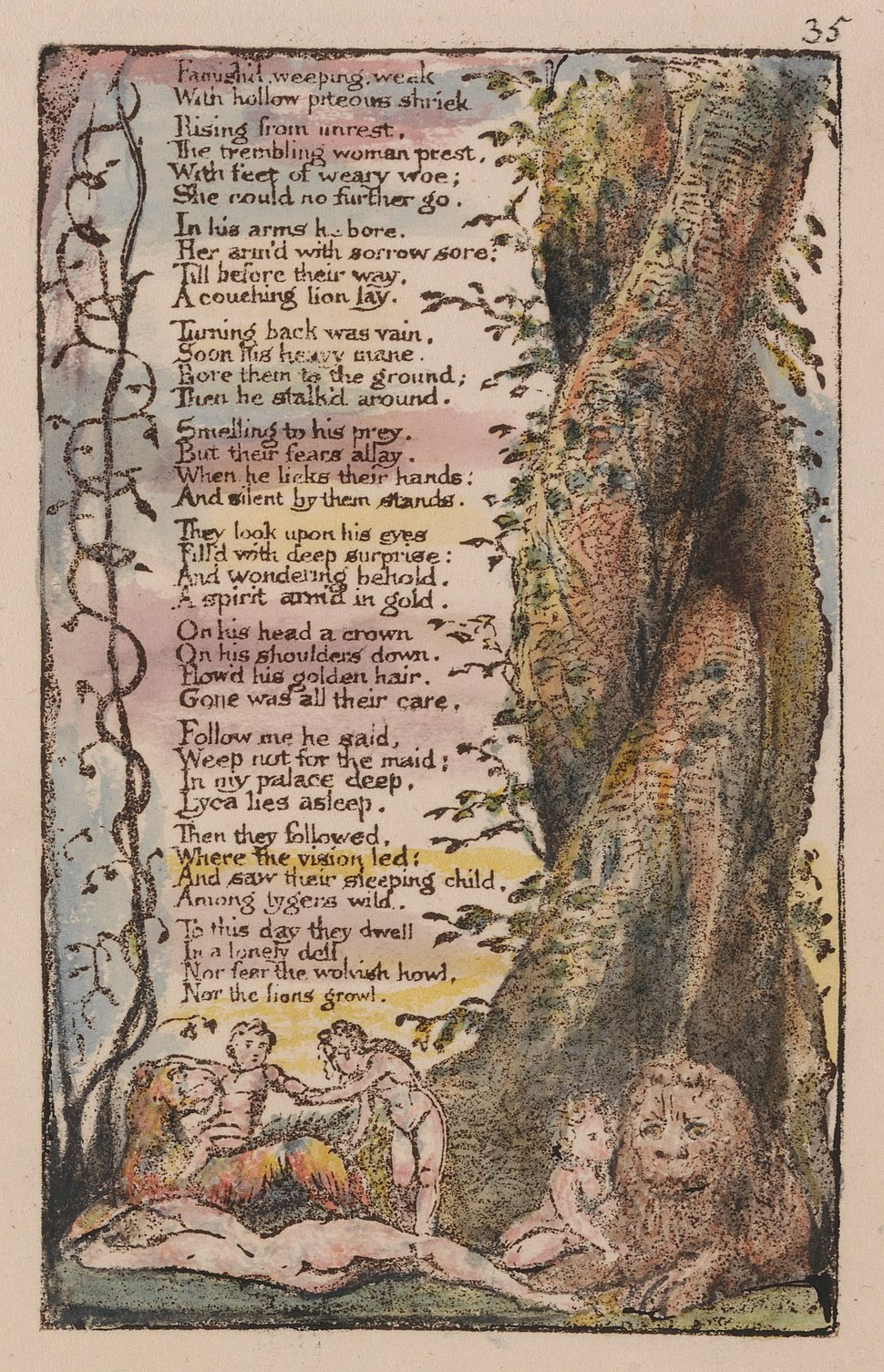 """William Blake - Songs of Innocence and of Experience, Plate 35, """"The Little Girl Found"""" (Bentley 36) - Google Art Project (cropped)"""