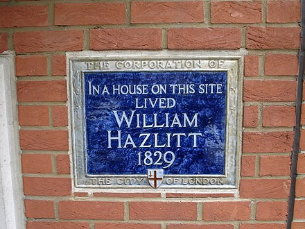 Plaque in Bouverie Street, London, marking the site of William Hazlitt's house. William Hazlitt plaque.JPG
