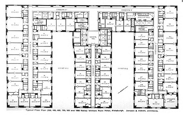 File william penn hotel typical floor wikimedia for Hotel floor plan design