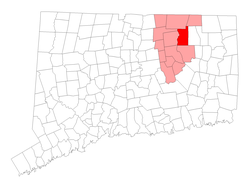 Location within Tolland County, کنیکٹیکٹ