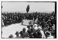 Winston Churchill speaking at tree planting ceremony on the site of Hebrew University, Mount Scopus, Jerusalem, Mar. 28th, 1921 LOC matpc.04698.jpg