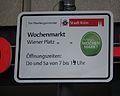Wochenmarkt Wiener Platz Köln Hinweisschild.JPG