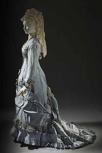 Train (clothing) - Dress with a fishtail train, French, c. 1880. LACMA