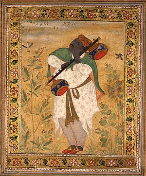 Kishangarh State - Portrait of Naubat Khan Kalawant Raja of Kishangarh prior to Kishan Singh.Portrait by Ustad Mansur, Mughal School, towards 1600,British Museum,London