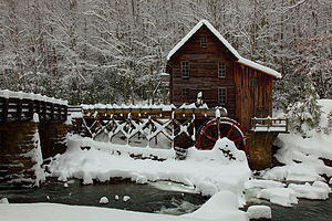 English: West Virginia Grist Mill in a Winter ...