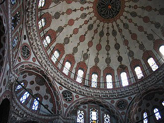 Emetullah Rabia Gülnuş Sultan - Interior of the dome of the Yeni Valide Mosque (Emetullah Râbi'a Gülnûş Sultan Mosque) in Üsküdar, Istanbul.