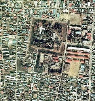 Yonezawa Castle - Yonezawa Castle from the air, 1972