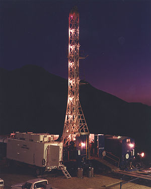 Yucca Flat - Drill rigs operated around the clock to prepare shafts deep enough for nuclear testing