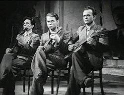 Юматов (слева) в фильме «Молодая гвардия» (1948)