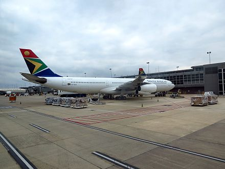 A South African Airways Airbus A340-300 parked at Concourse A - Washington Dulles International Airport