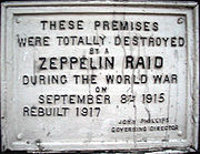 Plaque commemorating a September 8, 1915 Zeppelin raid on 61 Farringdon Road, London.