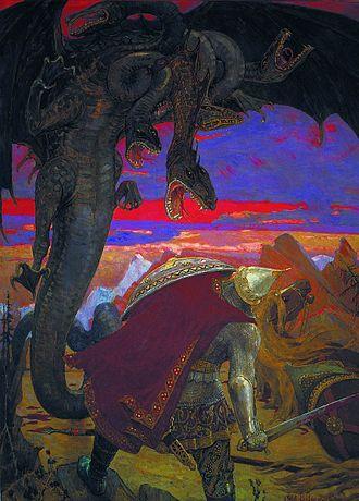 Dobrynya Nikitich - Victor Vasnetsov. Dobrynya Nikitich and dragon Zmei Gorynych, 1913–1918.