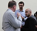 """""""Ukrayinska pravda"""" journalist, Serhiy Leshchenko, journalist Mustafa Nayem and Taras Chornovil, People's Deputy.jpg"""
